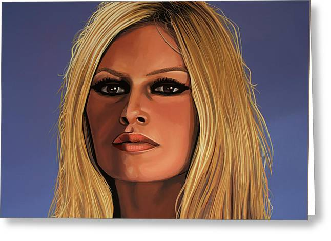 Rights Paintings Greeting Cards - Brigitte Bardot Greeting Card by Paul Meijering