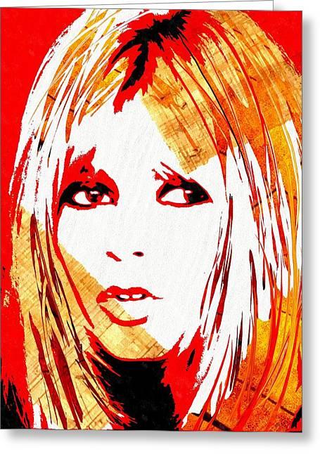 Brigitte Greeting Cards - Brigitte Bardot Red Greeting Card by Daniel Janda