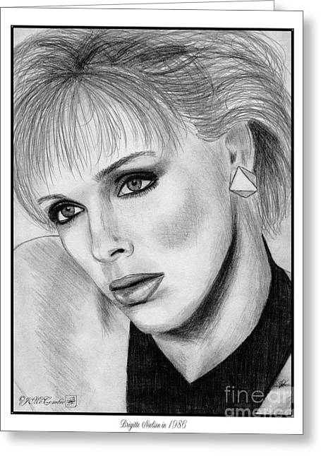 Fame Drawings Greeting Cards - Brigitte Nielsen in 1986 Greeting Card by J McCombie