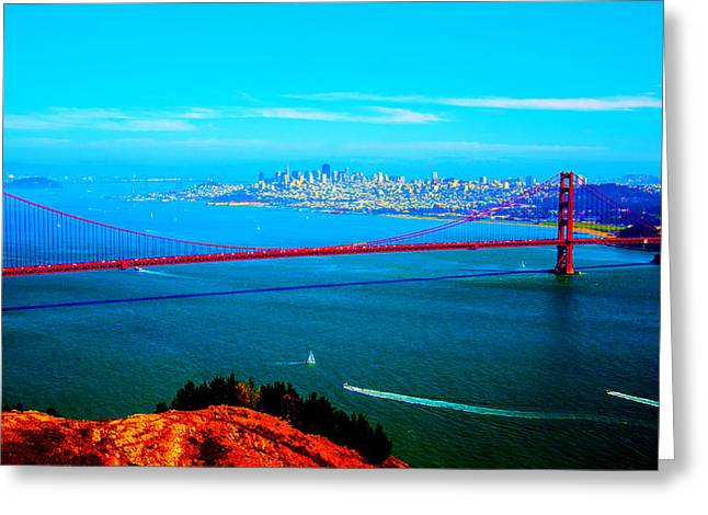 San Francisco Bay Mixed Media Greeting Cards - Brilliant Bay Greeting Card by Michelle Dallocchio