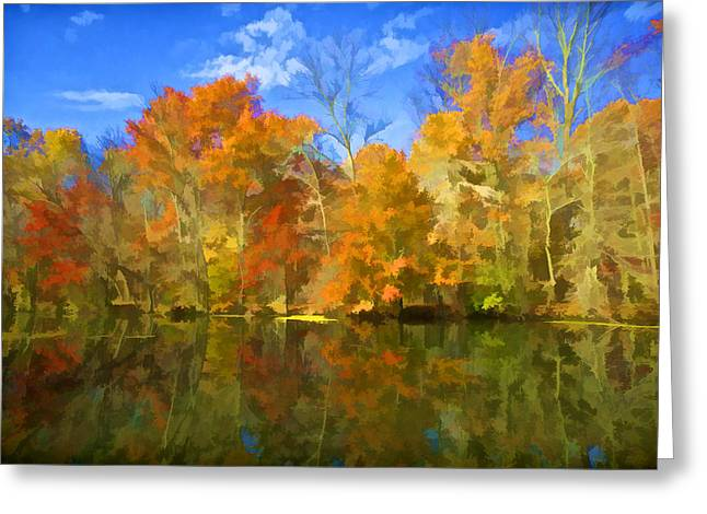 Raritan Greeting Cards - Brilliant Bright Colorful Autumn Trees on the Canal Greeting Card by David Letts