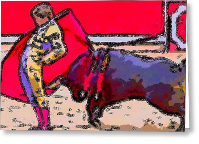 Toreador Paintings Greeting Cards - Brilliant Bullfighter Greeting Card by Bruce Nutting
