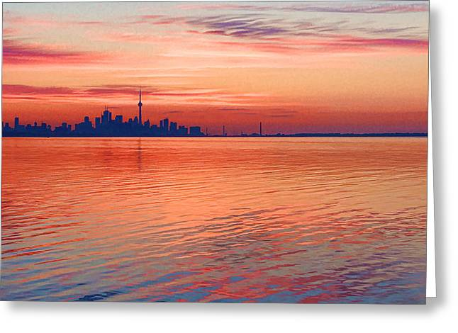 Gloaming Greeting Cards - Brilliant Colorful Morning - Toronto Skyline Impressions Greeting Card by Georgia Mizuleva