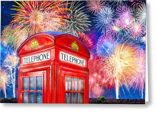 Fireworks Prints Greeting Cards - Brilliant Fireworks Over A Classic British Phone Box Greeting Card by Mark E Tisdale