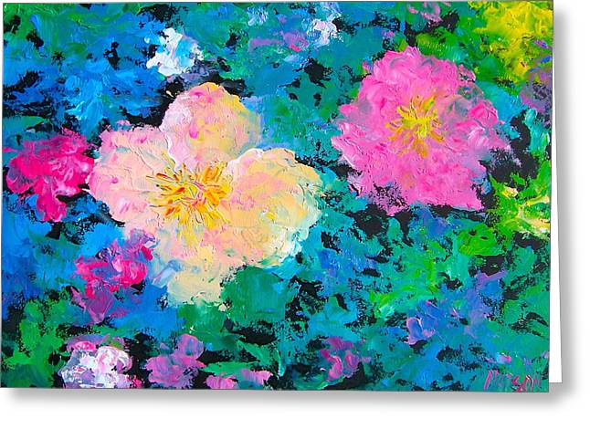 Lounge Paintings Greeting Cards - Brilliant Flower Garden Greeting Card by Jan Matson