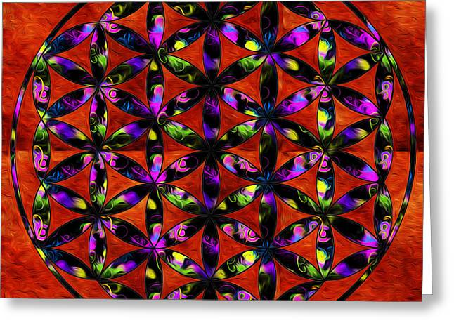 The Flower Of Life Greeting Cards - Brilliant Flower of life Greeting Card by Denise Teague