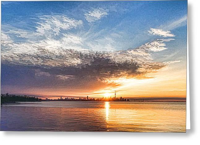Gloaming Greeting Cards - Brilliant June Sunrise - Toronto Skyline Impressions Greeting Card by Georgia Mizuleva
