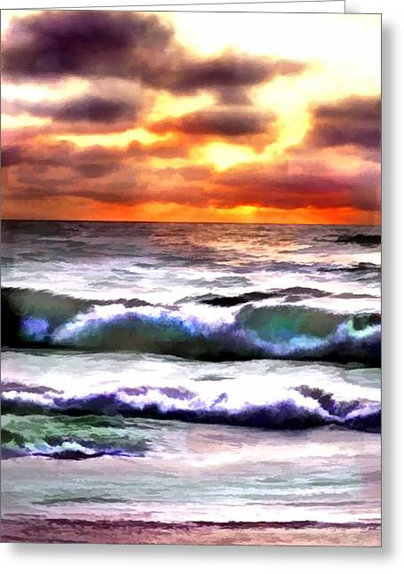 Cambria Greeting Cards - Brilliant Nags Head Sunrise Greeting Card by Elaine Plesser