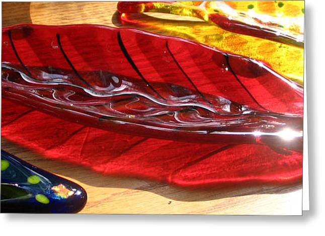 Red Leaves Glass Art Greeting Cards - Brilliant Red Feather Glass Dish Greeting Card by Donna Spencer