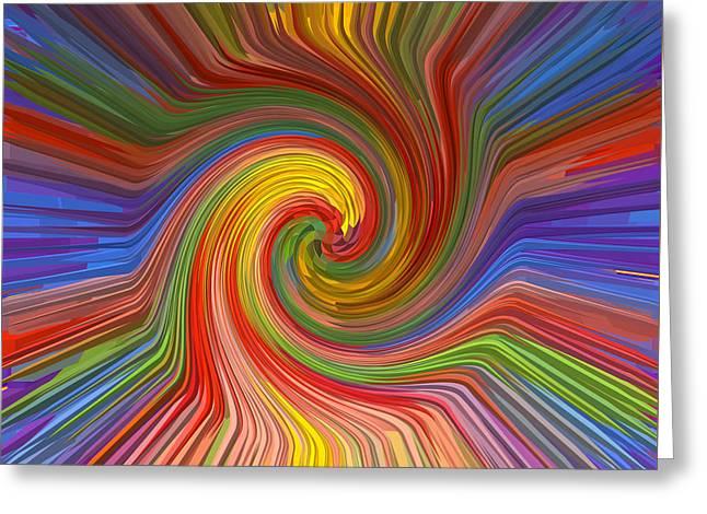 Brilliant Scientific Balanced Manadala Style Twril Mandala Graphic Spectrum Reiki Healing Graphic Co Greeting Card by Navin Joshi