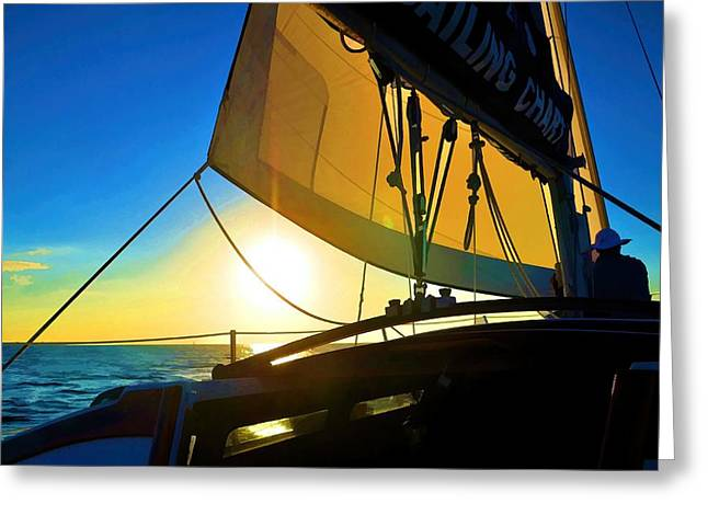 Sailboat Images Greeting Cards - Brilliant Sunset Sail Greeting Card by Pamela Blizzard