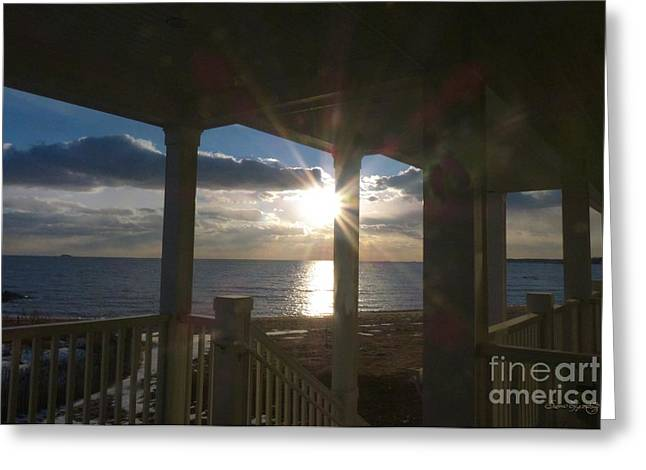 Sunset Greeting Cards Greeting Cards - Brilliant Winter Sunset 2 Greeting Card by Susan  Lipschutz