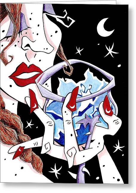 Women Tasting Wine Greeting Cards - BRinDis - Cata de vino - Mujer - Arte y seduccion Greeting Card by Arte Venezia
