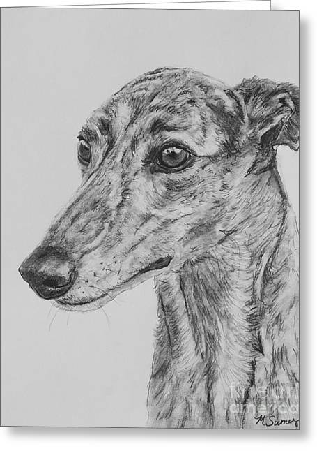 Greyhound Dog Greeting Cards - Brindle Greyhound Face in Profile Greeting Card by Kate Sumners
