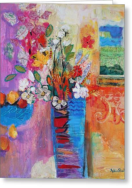 Stilllifes Greeting Cards - Bring The Outside In, 2014, Acrylicpaper Collage Greeting Card by Sylvia Paul