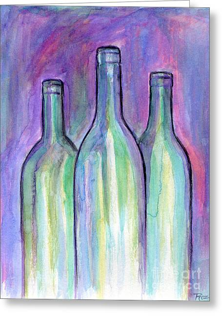 Table Wine Mixed Media Greeting Cards - Bring The Wine Greeting Card by Roz Abellera Art