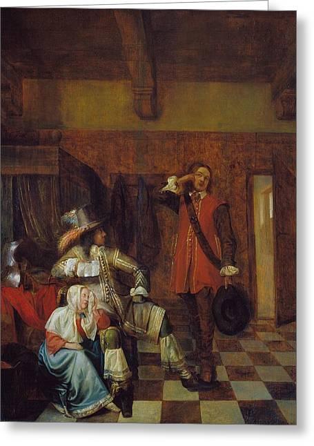 Catalunya Paintings Greeting Cards - Bringer of bad news Greeting Card by Pieter de Hooch