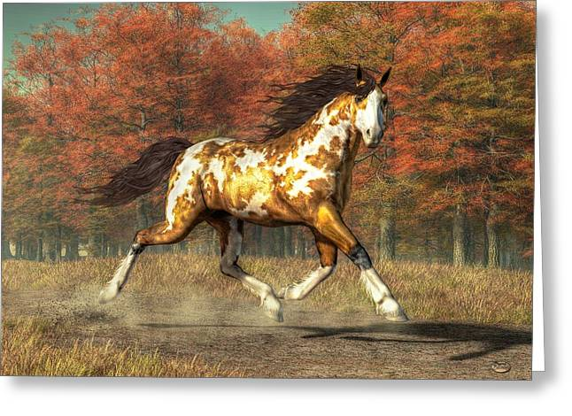 Spotted Horse Greeting Cards - Bringer of Fall Greeting Card by Daniel Eskridge