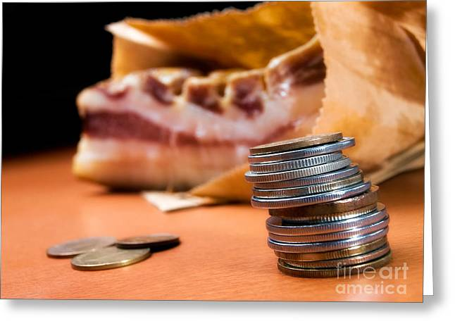 Family Budget Greeting Cards - Bringing home a bacon Greeting Card by Sinisa Botas
