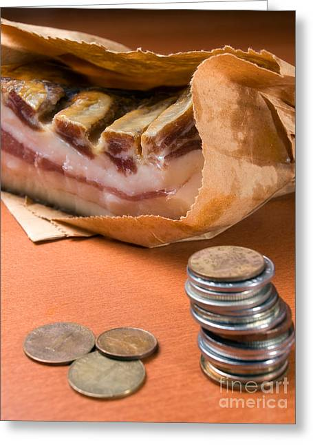 Family Budget Greeting Cards - Bringing home the bacon Greeting Card by Sinisa Botas