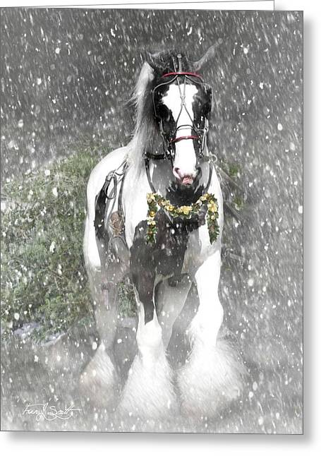 Bringing Home The Christmas Tree Greeting Card by Fran J Scott