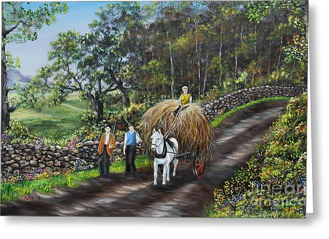 Hayrick Greeting Cards - Bringing Home the Hay Greeting Card by Avril Brand