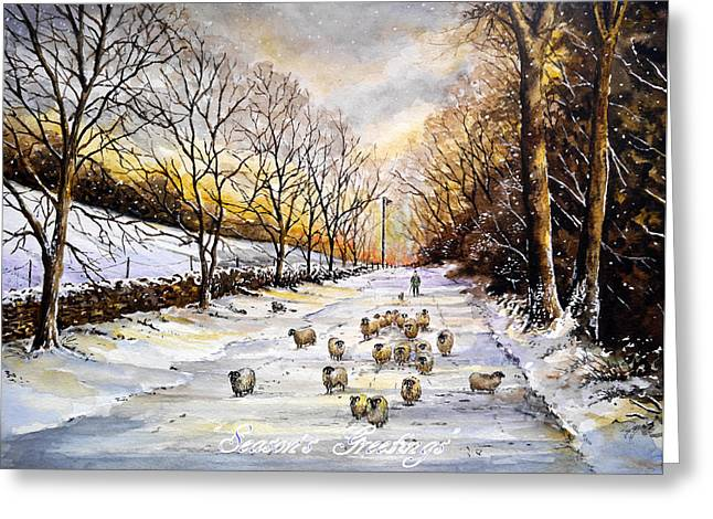 Snow Scene Landscape Greeting Cards - Bringing home the sheep Greeting Card by Andrew Read
