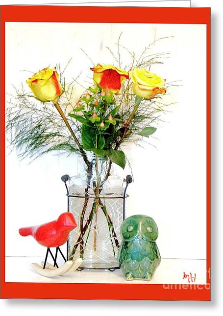 Glass Vase Greeting Cards - Bringing The Outside In Greeting Card by Marsha Heiken