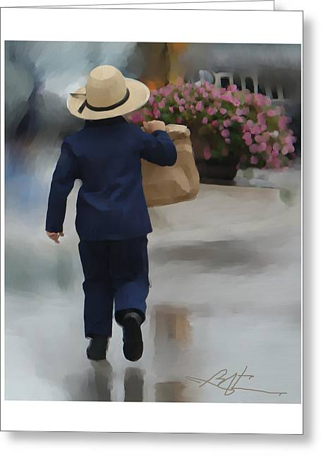 Amish Digital Art Greeting Cards - Brining It Home To Mom Greeting Card by Bob Salo