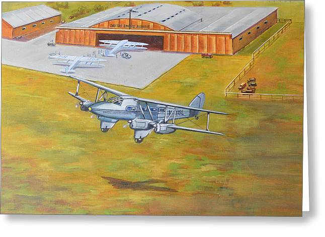 Murray Mcleod Paintings Greeting Cards - Brisbane Airport 1935 Greeting Card by Murray McLeod