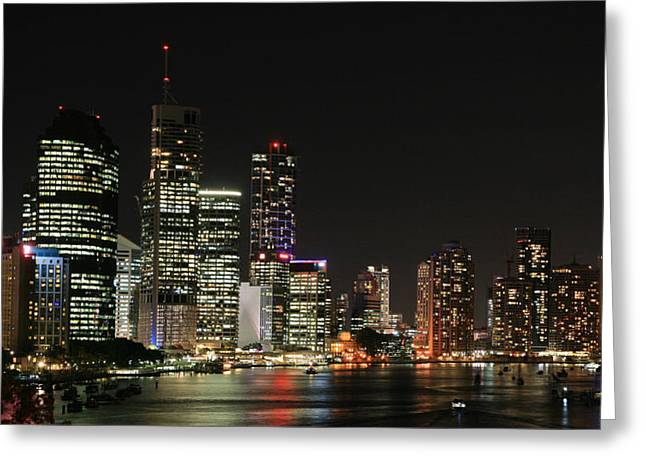 Twinkle Greeting Cards - Brisbane by Night Greeting Card by Carl Koenig