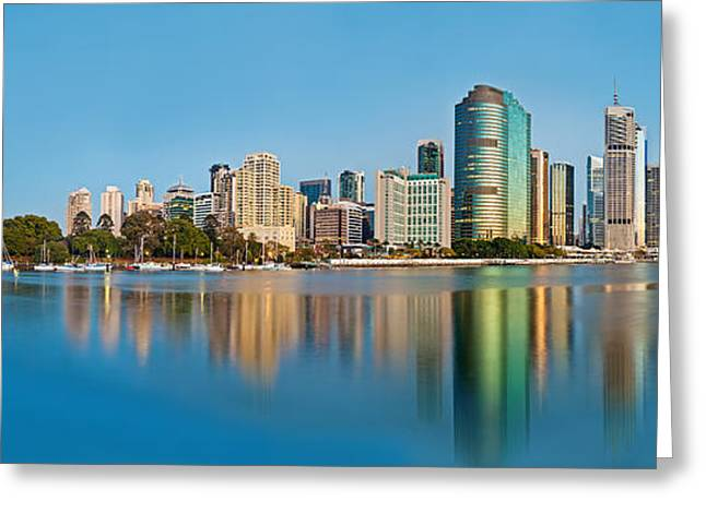 Photograph Greeting Cards - Brisbane City Reflections Greeting Card by Az Jackson