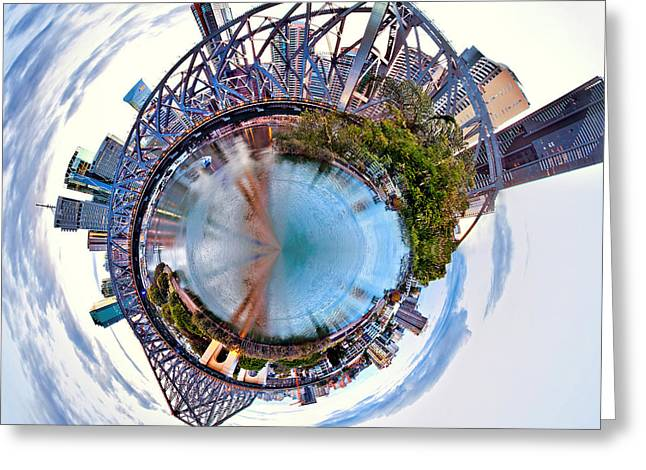 Blue Green Water Greeting Cards - Brisbane Skyline Circagraph Greeting Card by Az Jackson