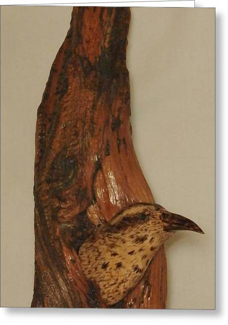Woodcarving Sculptures Greeting Cards - Bristlecone Pine and Bird Greeting Card by Russell Ellingsworth