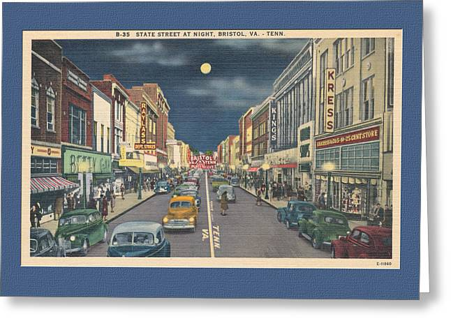 Virginia Postcards Greeting Cards - Bristol at night in the 1940s Greeting Card by Denise Beverly