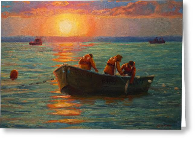 Bristol Greeting Cards - Bristol Bay Sunset Greeting Card by Jeanne Young
