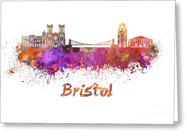 Bristol Greeting Cards - Bristol skyline in watercolor Greeting Card by Pablo Romero
