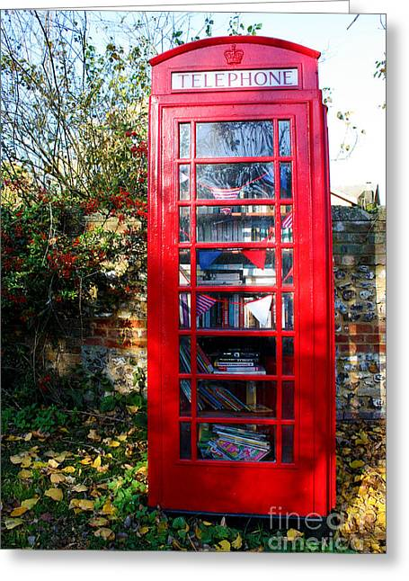 Terri Waters Greeting Cards - Britains Telephone Box Library Greeting Card by Terri  Waters