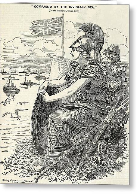 Surveying Greeting Cards - Britannia Surveying The British Fleet Greeting Card by British Library