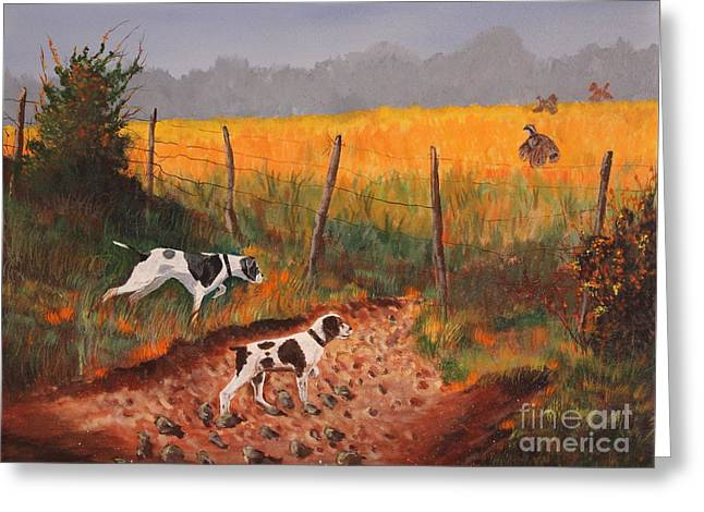 Working Dog Drawings Greeting Cards - Britany and Spears Greeting Card by Bob Williams