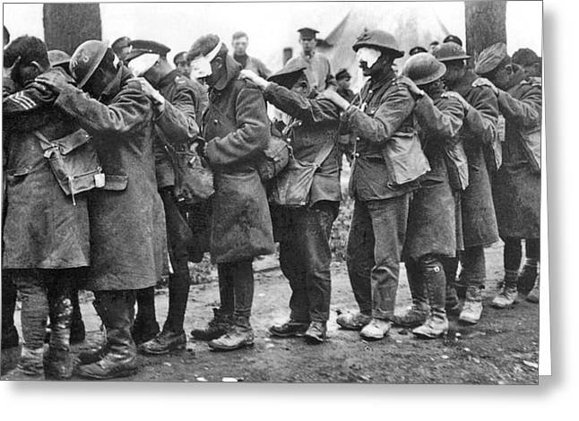 Wwi Photographs Greeting Cards - British 55th Division gas casualties Greeting Card by Unknown
