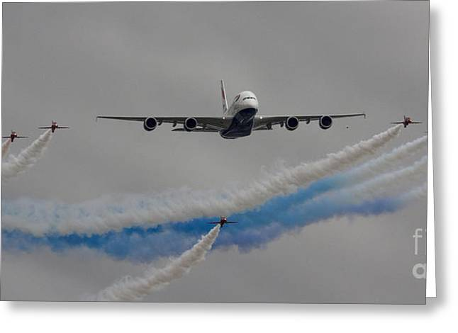A380 Greeting Cards - British Airways A380 Fly Past Greeting Card by J Biggadike