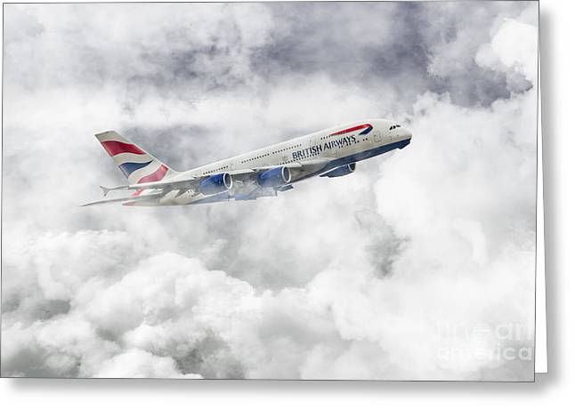A380 Greeting Cards - British Airways A380 Greeting Card by J Biggadike