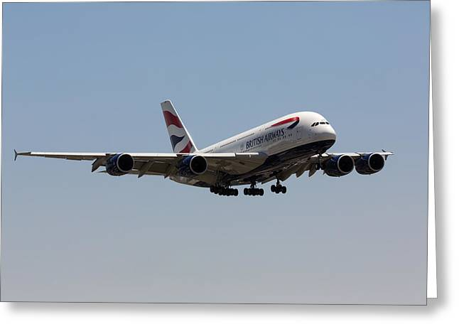 A380 Greeting Cards - British Airways A380 Greeting Card by John Daly