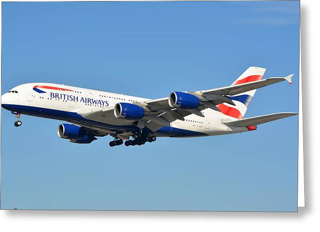 A380 Greeting Cards - British Airways Airbus A380-841 G-XLEE Los Angeles International Airport January 19 2015 Greeting Card by Brian Lockett