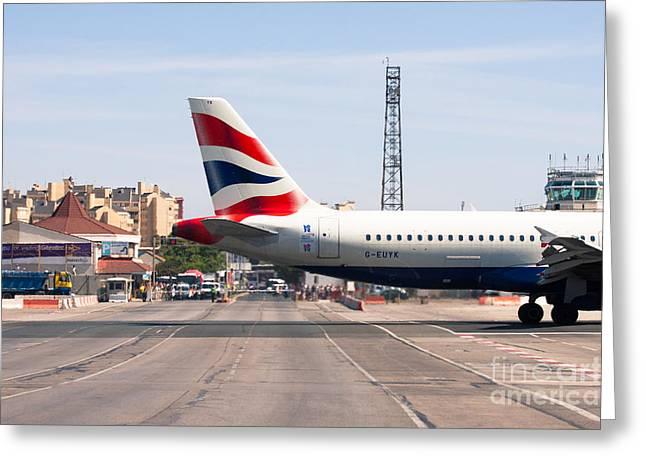 British Airways Airbus Landing At Gibraltar Greeting Card by Jan Mika