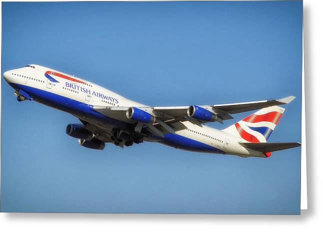Airways Greeting Cards - British Airways Airliner Taking Off Greeting Card by Mountain Dreams