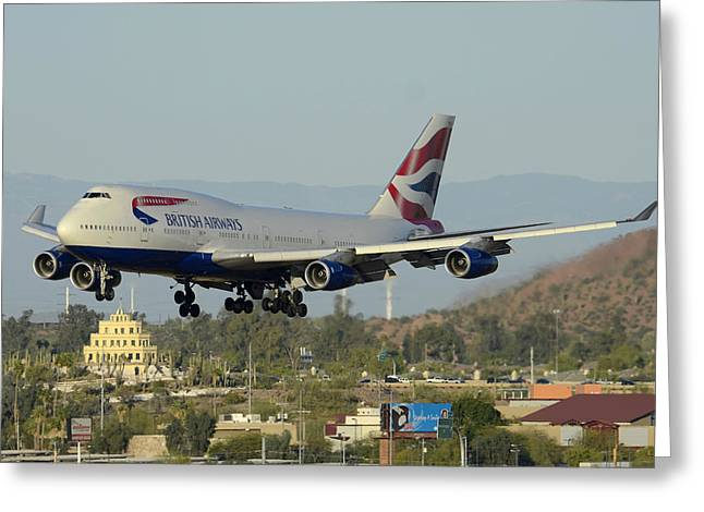 American Airways Greeting Cards - British Airways Boeing 747-436 G-BNLX landing Phoenix Sky Harbor March 10 2015 Greeting Card by Brian Lockett