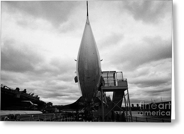 Manhaten Greeting Cards - British Airways Concorde exhibit at the Intrepid Sea Air Space Museum Greeting Card by Joe Fox