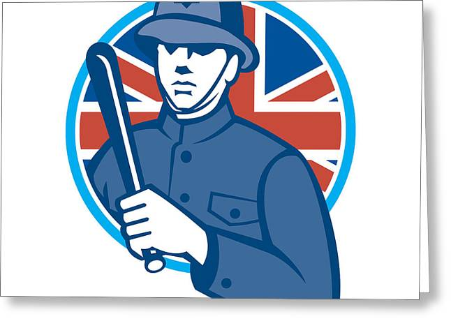 Police Baton Greeting Cards - British Bobby Policeman Truncheon Flag Greeting Card by Aloysius Patrimonio